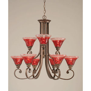Curl Bronze Nine-Light Chandelier with 7-Inch Raspberry Crystal Glass Shade