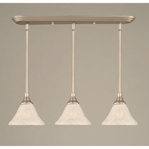 Brushed Nickel Three-Light Mini Pendant with Italian Bubble Glass Shade