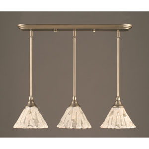 Brushed Nickel Multi Light Mini Pendant with Italian Ice Glass