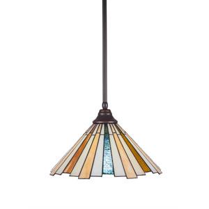 Any Dark Granite One-Light Pendant with Sequoia Tiffany Glass