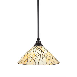 Any Matte Black One-Light Pendant with Sandhill Tiffany Glass