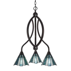 Bow Black Copper Three-Light Chandelier with Sea Ice Tiffany Glass