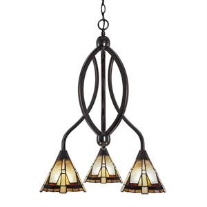 Bow Black Copper Three-Light Chandelier with Zion Tiffany Glass