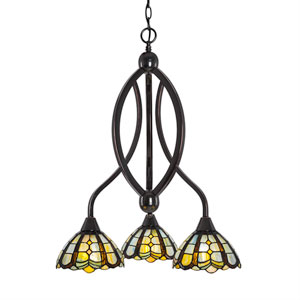 Bow Black Copper Three-Light Chandelier with Paradise Tiffany Glass