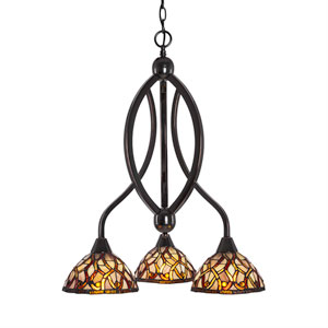 Bow Black Copper Three-Light Chandelier with Persian Nites Tiffany Glass