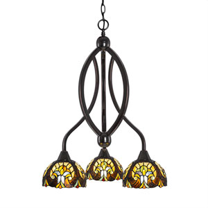 Bow Black Copper Three-Light Chandelier with Ivory Cypress Tiffany Glass
