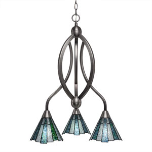 Bow Brushed Nickel Three-Light Chandelier with Sea Ice Tiffany Glass