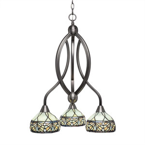 Bow Brushed Nickel Three-Light Chandelier with Royal Merlot Tiffany Glass