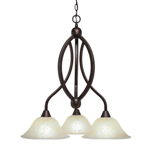 Bow Bronze Three-Light Chandelier with Amber Marble Glass