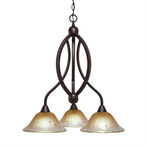 Bow Bronze Three-Light Chandelier with Amber Crystal Glass