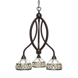 Bow Bronze Three-Light Chandelier with Royal Merlot Tiffany Glass
