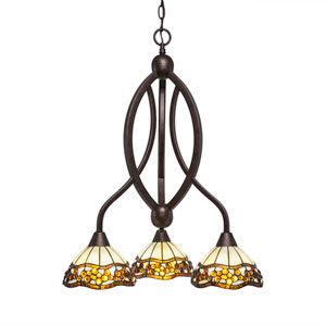 Bow Bronze Three-Light Chandelier with Roman Jewel Tiffany Glass
