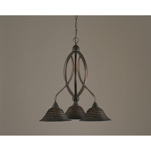 Bow Black Copper Three-Light Downlight Chandelier with Charcoal Spiral Glass