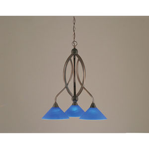 Bow Black Copper Downlight Three-Light Chandelier with 10-Inch Blue Italian Glass Shade