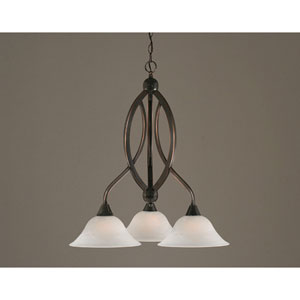 Bow Black Copper Downlight Three-Light Chandelier with 10-Inch White Alabaster Glass Shade