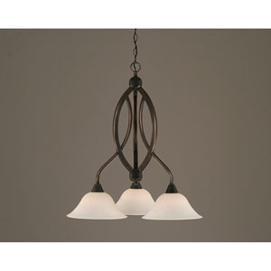 Bow Black Copper Downlight Three-Light Chandelier with 10-Inch Spider Web Glass Shade