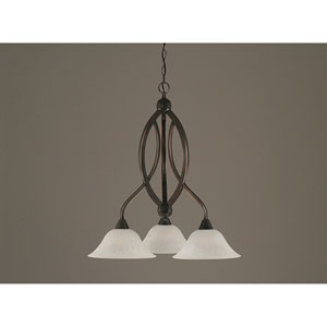 Bow Black Copper Downlight Three-Light Chandelier with 10-Inch White Marble Glass Shade