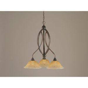 Bow Black Copper Three-Light Downlight Chandelier with Amber Crystal Glass