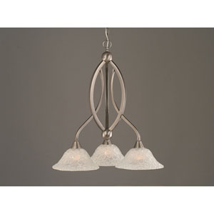 Bow Brushed Nickel Three-Light Downlight Chandelier with Italian Bubble Glass