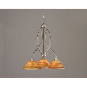 Bow Brushed Nickel Downlight Three-Light Chandelier with 10-Inch Firre Saturn Glass Shade
