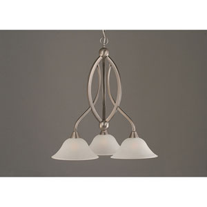 Bow Brushed Nickel Downlight Three-Light Chandelier with 10-Inch Dew Drop Glass Shade