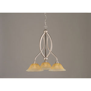 Bow Brushed Nickel Downlight Three-Light Chandelier with 10-Inch Amber Crystal Glass Shade