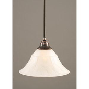 Black Copper One-Light Pendant with White Marble Glass Shade