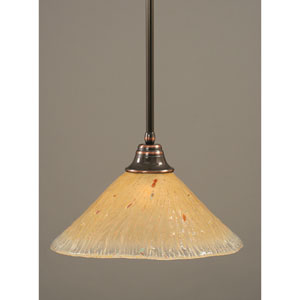 Black Copper One-Light Pendant with Amber Crystal Glass Shade