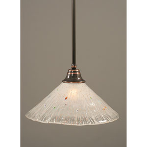 Black Copper One-Light Pendant with Frosted Crystal Glass Shade
