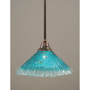 Black Copper One-Light Pendant with Teal Crystal Glass Shade