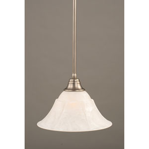 Brushed Nickel One-Light Pendant with White Marble Glass Shade