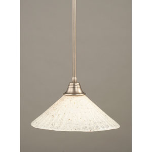 Brushed Nickel One-Light Pendant with Gold Ice Glass Shade