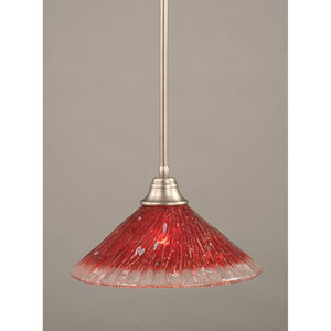 Brushed Nickel One-Light Pendant with Raspberry Crystal Glass Shade