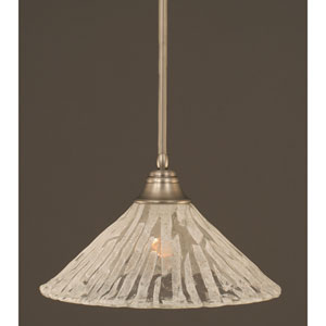 Brushed Nickel One-Light Pendant with Italian Ice Glass Shade