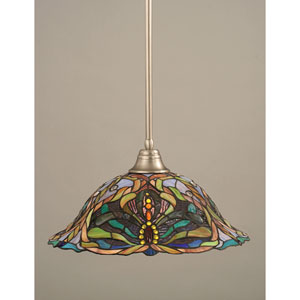 Brushed Nickel One-Light Pendant with Kaleidoscope Tiffany Glass