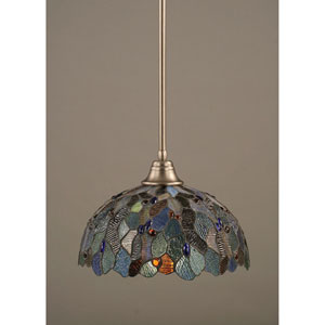 Brushed Nickel One-Light Pendant with Blue Mosaic Tiffany Glass