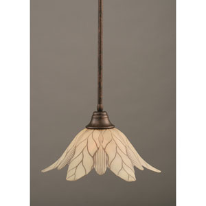 Bronze One-Light Pendant with Vanilla Leaf Glass Shade