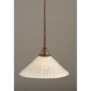 Bronze One-Light Pendant with Italian Bubble Glass Shade