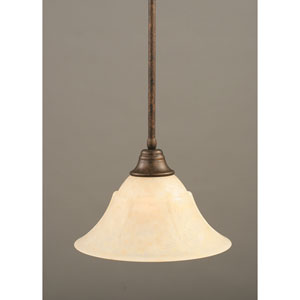 Bronze One-Light Pendant with Amber Marble Glass Shade