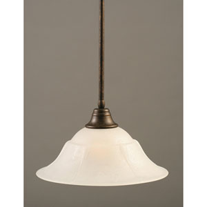 Bronze One-Light Pendant with White Marble Glass Shade