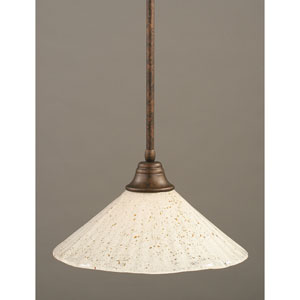 Bronze One-Light Pendant with Gold Ice Glass Shade