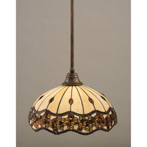 Bronze One-Light Pendant with Roman Jewel Tiffany Glass