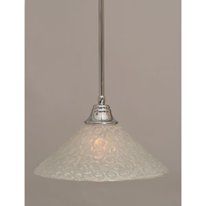 Chrome Stem Pendant with Italian Bubble Glass Shade