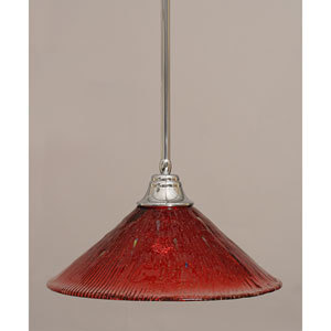 Chrome Stem Pendant with Raspberry Crystal Glass Shade