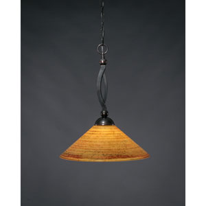 Bow Black Copper One-Light Pendant with Firré Saturn Glass