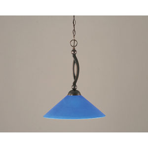 Bow Black Copper Downlight One-Light Pendant with 16-Inch Blue Italian Glass Shade