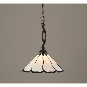 Bow Black Copper One-Light Pendant with Pearl and Black Flair Tiffany Glass