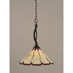 Bow Black Copper One-Light Pendant with Burgundy Flair Tiffany Glass