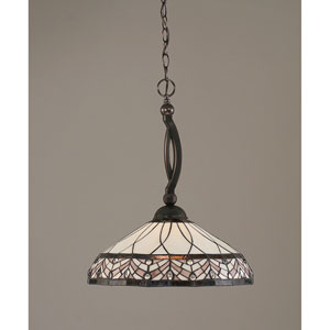 Bow Black Copper One-Light Pendant with Royal Merlot Tiffany Glass