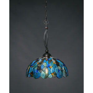 Bow Black Copper One-Light Pendant with Blue Mosaic Tiffany Glass